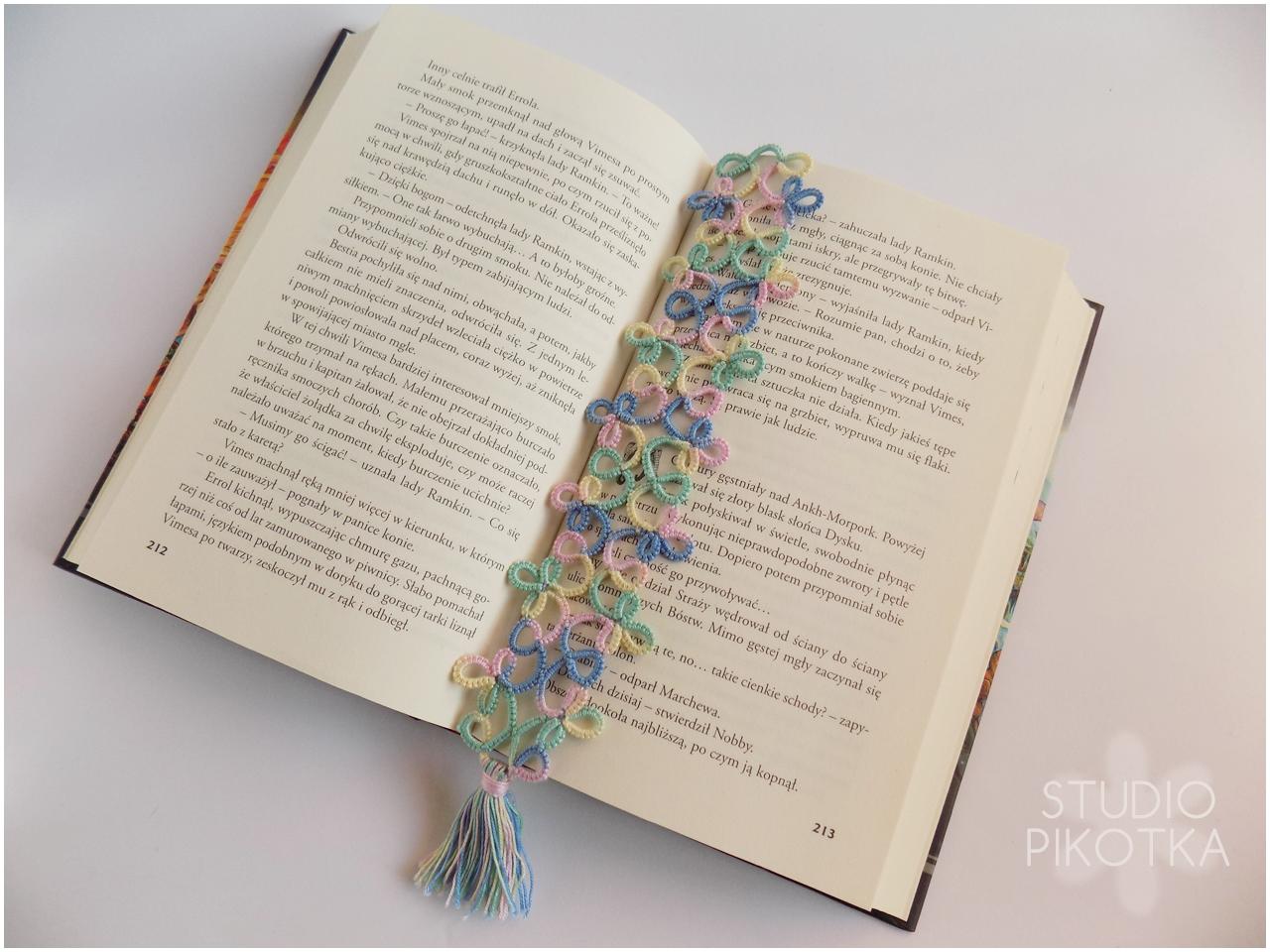 frywolitka, bookmark, zakładka, rękodzieło, handmade, książki, tatting,
