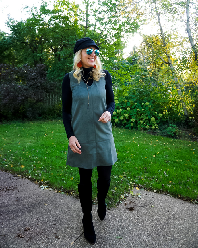 How to Layer a Pinafore Dress Fall