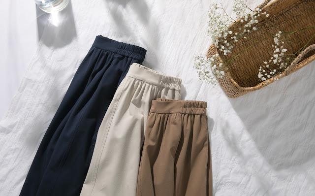 彈力大口袋過膝裙-米白色,卡其色,深藍色