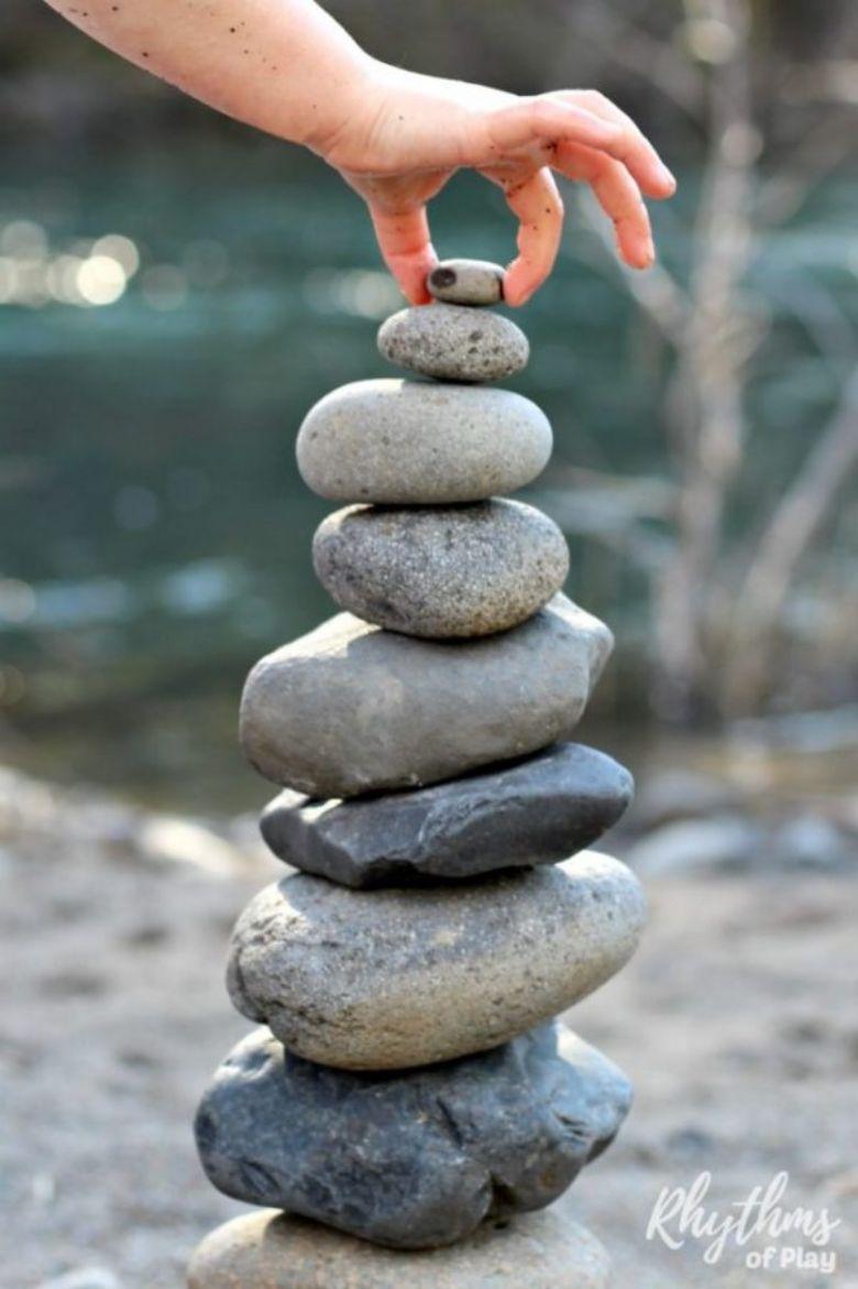 outdoor activities for kids - rock balancing activity