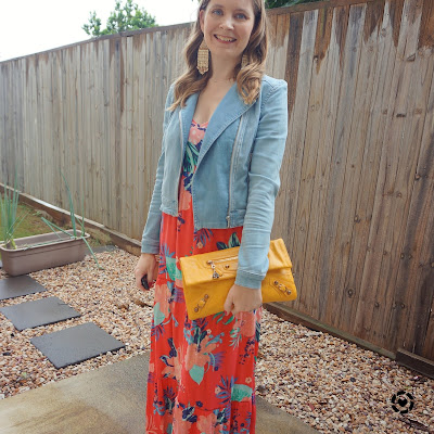 awayfromblue Instagram | Kmart tropicana floral tiered maxi dress layered for autumn denim jacket ankle boots mango envelope clutch
