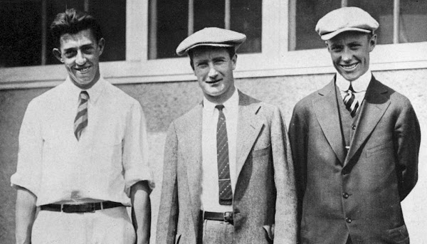 Francis Ouimet, Jerry Travers and Chick Evans at the 1915 US Open