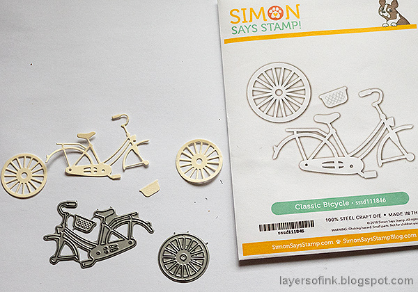 Layers of ink - Multi-Color Embossing Tutorial by Anna-Karin Evaldsson. Die cut the bicycle.