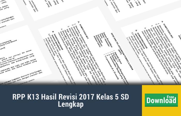 RPP K13 Hasil Revisi 2017 Kelas 5 SD Lengkap