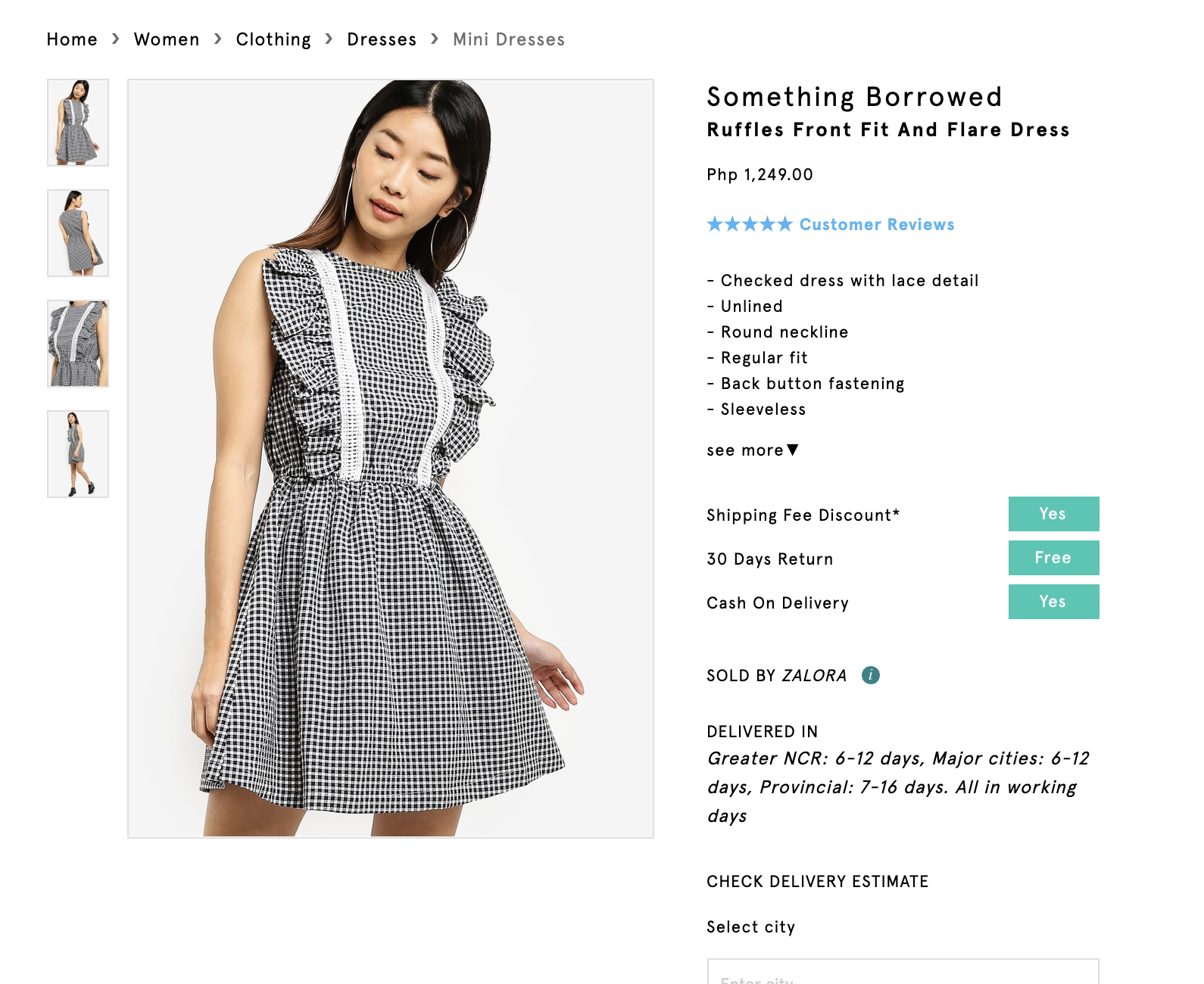 Screenshot of Something Borrowed Fit and Flare Dress
