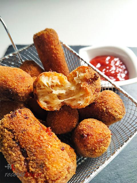 Deliciosas croquetas de pollo y queso