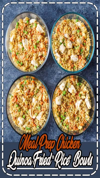 "A healthier fried ""rice"" that's perfect for meal prep! Fried quinoa in place of rice with veggies and chunky chicken breast – you won't even know what's missing in these Meal Prep Chicken Quinoa Fried ""Rice"" Bowls! #projectmealplan #mealprep #mealpreprecipes #mealpreplunch"