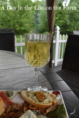 blue cheese on crostini with honey and pecans with a glass of wine