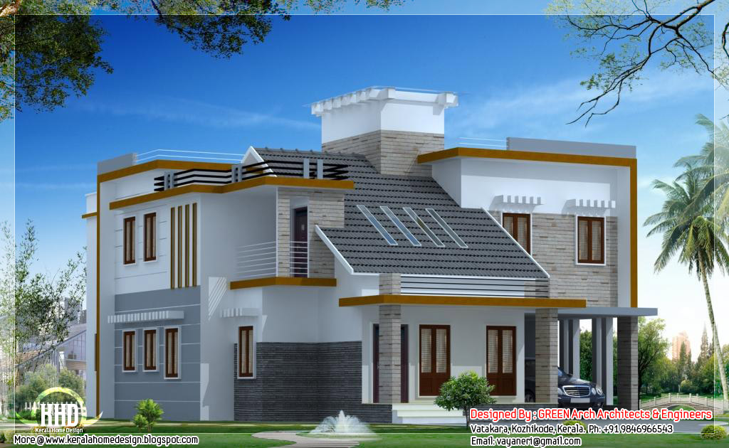 1900 sq feet modern contemporary mix home design home for Indian house designs for 800 sq ft