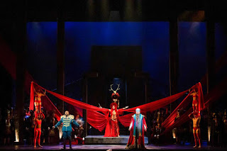 Russell Thomas, Dorothy Gal, and HGO Studio Alum Peixin Chen in Houston Grand Opera's 'Aida'Photo: Lynn Lane
