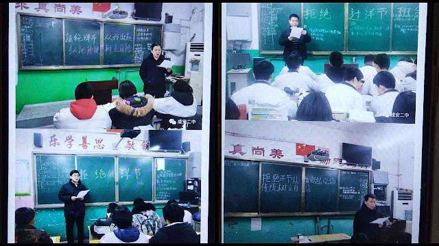 Maestros devem ensinar a proibição das festas católicas porque 'estrangeiras' (fotos de rede social chinesa).