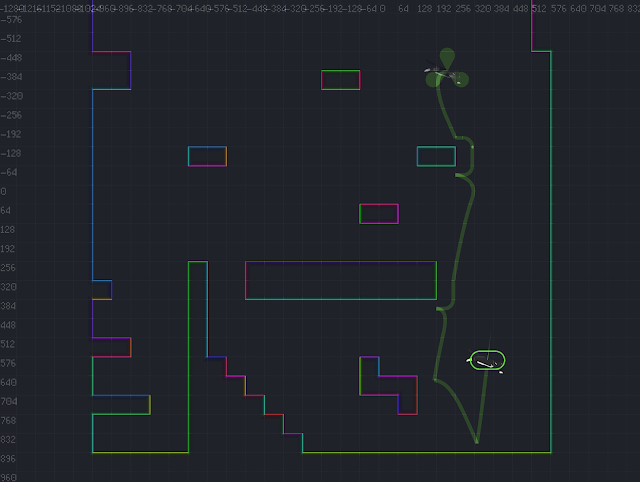 A screenshot showing a path that starts and ends at in-air positions.