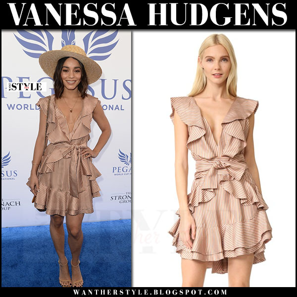 Vanessa Hudgens in striped ruffled mini dress zimmermann winsome flounce what she wore