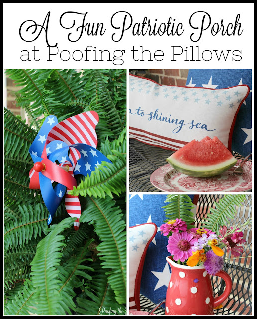 Simple and fun patriotic porch at Poofing the Pillows. #patrioticporch #flags #Americana #patrioticdecor #patrioticpillows #poofingthepillowsblog