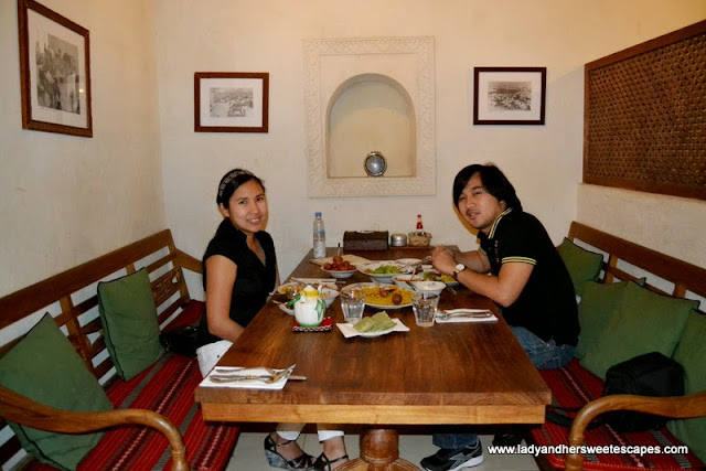 Ed and Lady at Al Fanar restaurant, Dubai Festival City