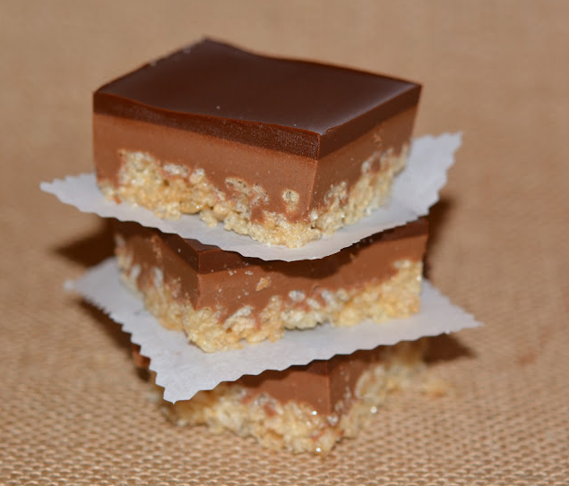 Caramel Chocolate Peanut Butter Rice Krispy Bars Recipe