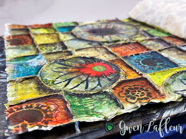 Textural Art Journaling with Stencils - Closeup 2 - Gwen Lafleur
