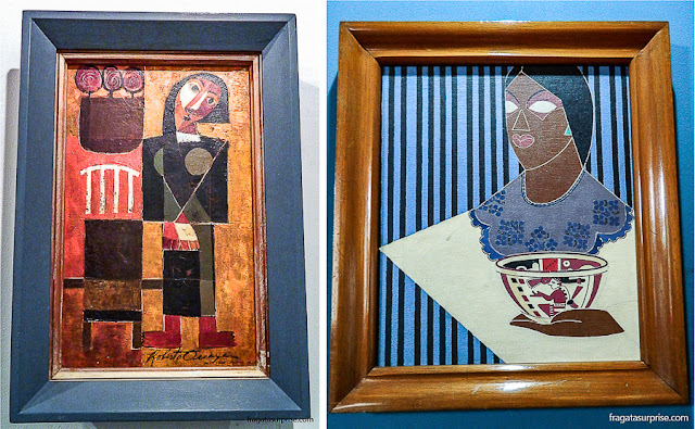 """Pintura 1"", de Roberto Ossaye, e ""Índia"", de Carlos Mérida, obras expostas no Museu Nacional de Belas Artes Carlos Mérida, na Cidade da Guatemala"