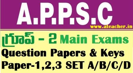 APPSC Group-2 Main Exam Paper With Keys Solutions For Paper 1,2,3 SET A/B/C/D