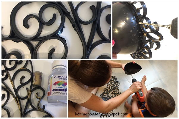 pintando vaso de plástico