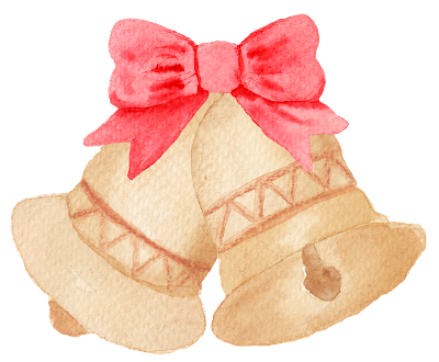 Watercolour of two Christmas bells with pink bow