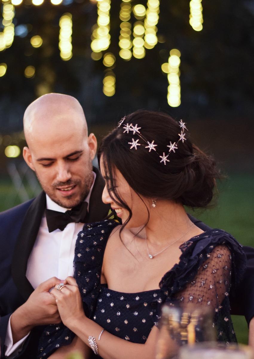 Honey & Silk Provencal Wedding | Vintage 1950s Lanvin Dress and Jennifer Behr Celestial Coronet