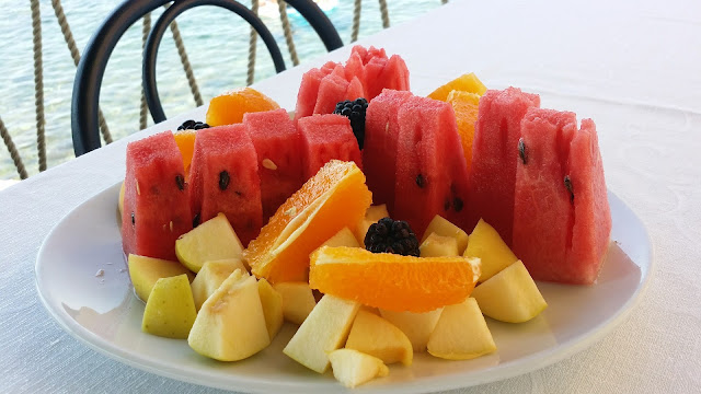 Watermelon, Apple chunks, Orange Segments on Platter