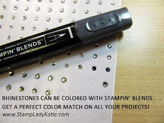 ProTip: rhinestones can be colored using alcohol markers such as Stampin Blends