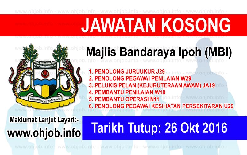 Jawatan Kerja Kosong Majlis Bandaraya Ipoh (MBI) logo www.ohjob.info oktober 2016
