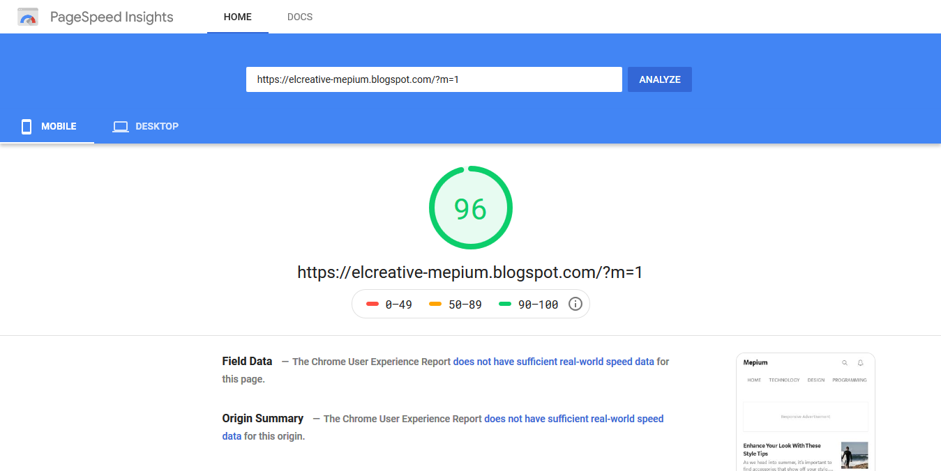 Google PageSpeed Insight Mobile