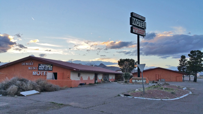 Abandoned USA Gas Station and truck stop, Mini Mart, Shady Grove Restaurant, and Desert West Motel in Road Forks, New Mexico