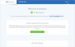 Welcome message from Bluehost