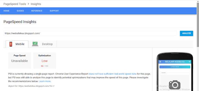 Cara Mengetahui Kecepatan Loading Suatu Blog Menggunakan Google Pagespeed