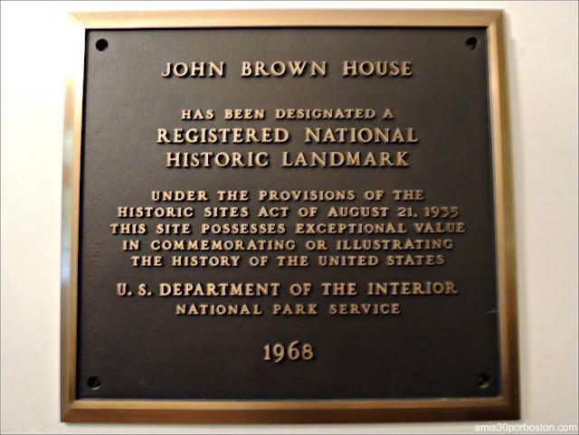 Placa de la Mansión de John Brown del Registro Nacional de Sitios Históricos, Providence