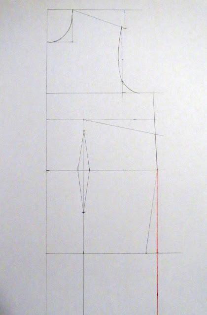 Línea para falda recta en el patrón base delantero