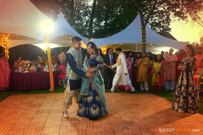 South Asian Indian Wedding Photography Outdoor Wedding Reception Dance Floor Michigan by SudeepStudio.com Ann Arbor Indian Wedding Photographer