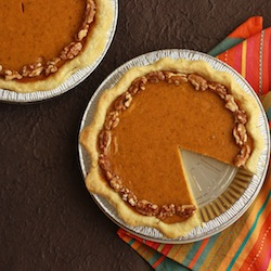 brazil nut or walnut pumpkin pie made with fresh pumpkin and homemade butter based crust