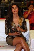 Pooja Hegde looks glamarous in deep neck sleevless short tight golden gown at Duvvada Jagannadham thank you meet function 159.JPG