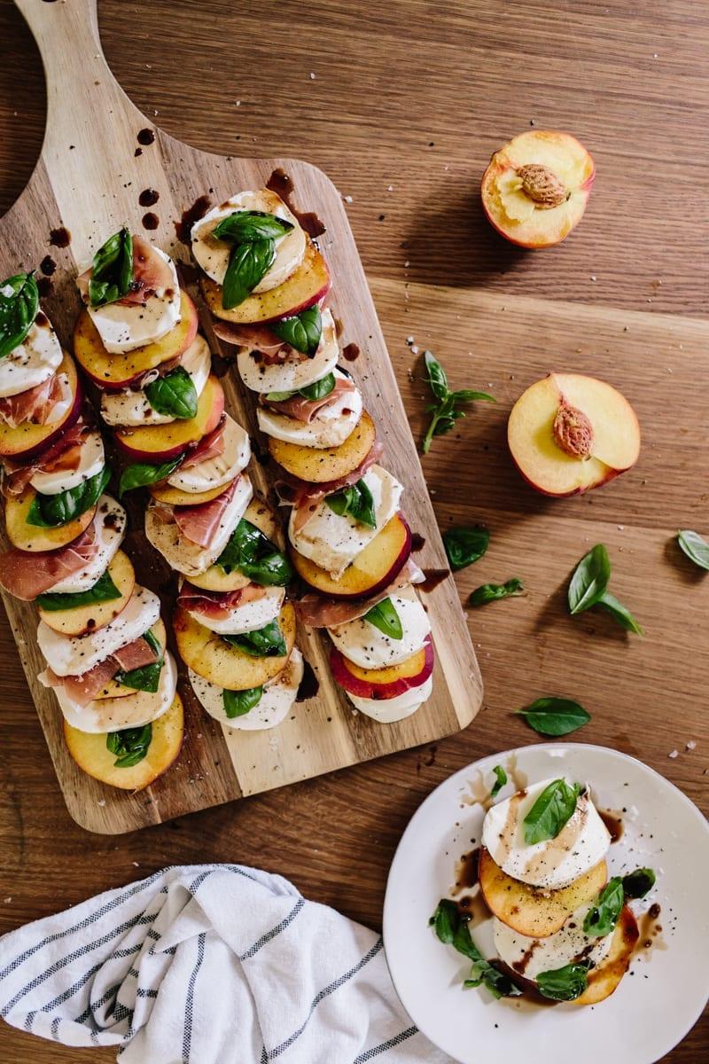 Easy Summer Appetizers - Peach Caprese salad