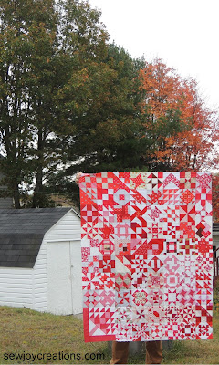 red and white small patchwork block quilt Kat Tucker project
