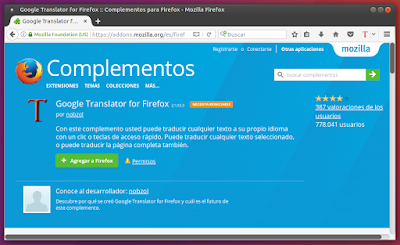 Complemento Google Translator for Firefox