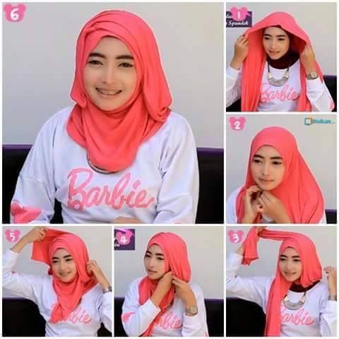 Tutorial cara memakai model hijab pashmina untuk wajah bulat 2