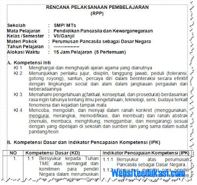 RPP PKn Kelas 7 SMP/MTs Kurikulum 2013 Revisi Terbaru