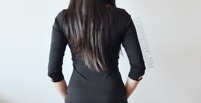 Details on the sexy black asymmetric lace-up lattice corset front three-quarter sleeve bodycon party dress from Make Me Chic--a dupe of the Margaux Nasty Gal dress.