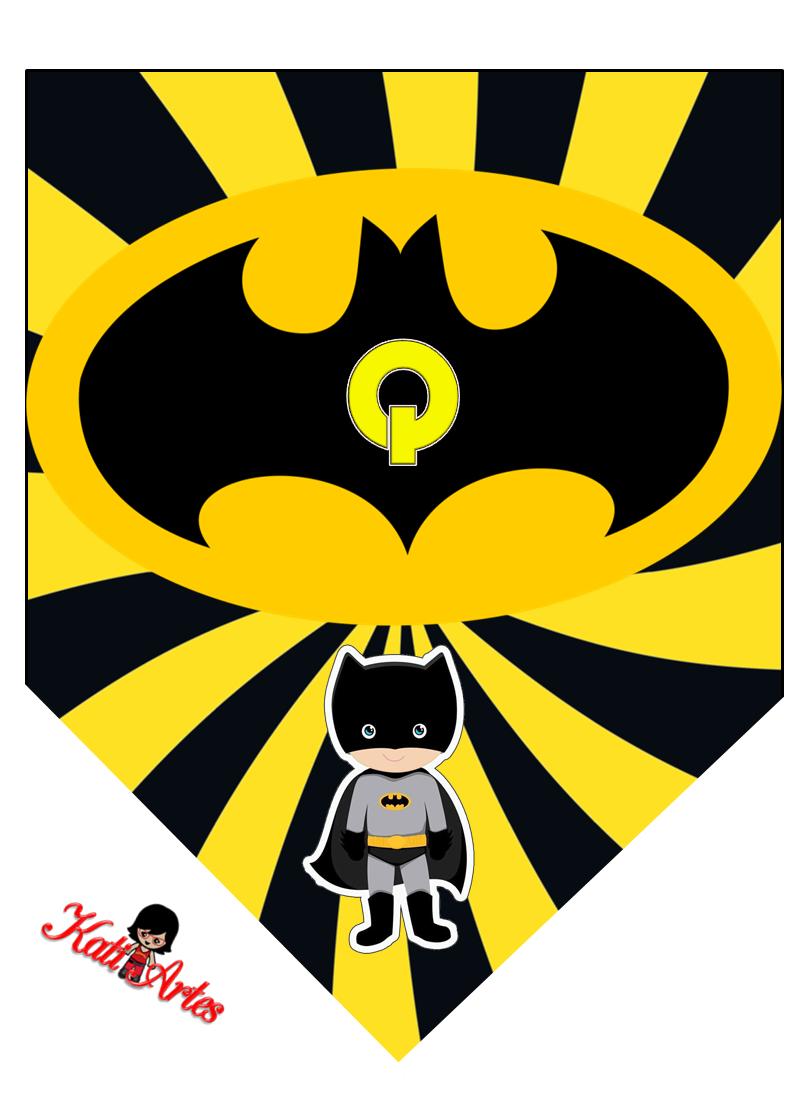 banderines de batman con alfabeto para imprimir gratis