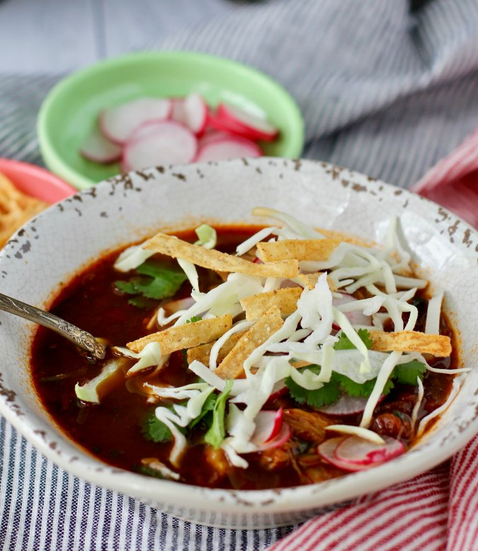 Bowl of Pozole Rojo with Chicken