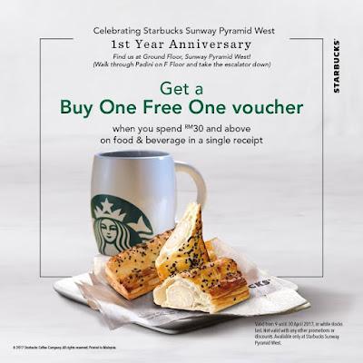Sunway Pyramid Starbucks Buy 1 Free 1 Promo