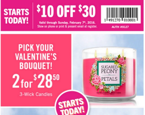 Bath & Body Works $10 Off $30 Coupon