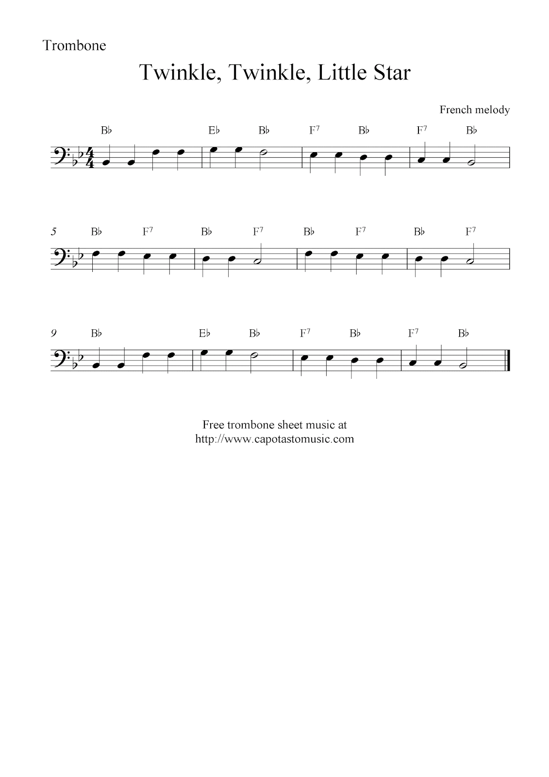 photograph relating to Free Printable Trombone Sheet Music titled Twinkle, Twinkle, Very little Star, totally free trombone sheet tunes notes