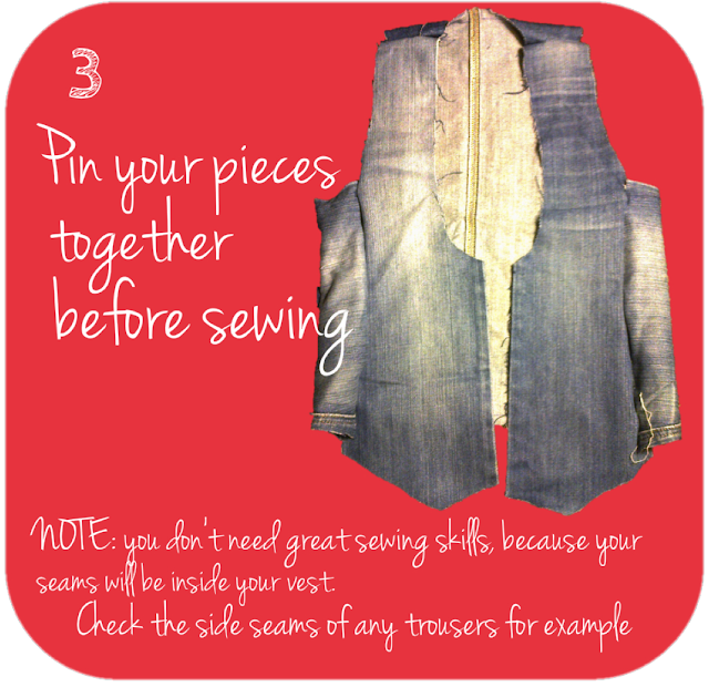 Pin your pieces together before sewing